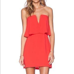 Red BCBG Maxazria strapless dress